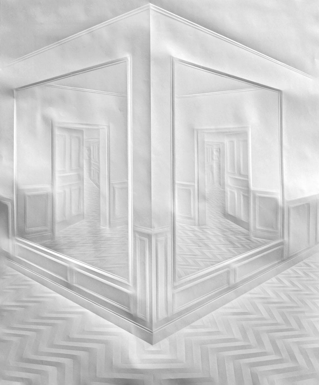 ohne Titel (Flur mit Spiegeln), 90 x 70 cm, 2010