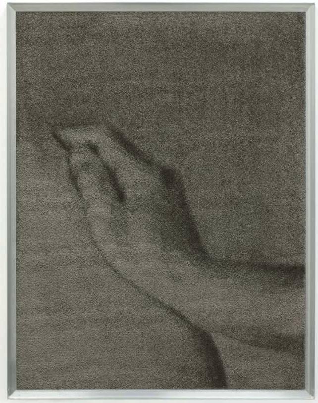 Tobias Hantmann, Untitled (2), 2014, Velour-Carpet, 90 x 70 cm, framed behind plexiglas