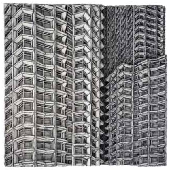 Centerpoint, 2016, 233,5 x 30 x 31 cm, Wellpappenrelief, mit Gesso bemalt, Grafit, Permanentmarker, Holz