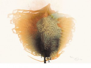 """Otto Piene, """"Unknown Tree"""", Reliefdruck eines """"Rauchbildes"""", 72,3 x 101 cm, 2000/2014"""