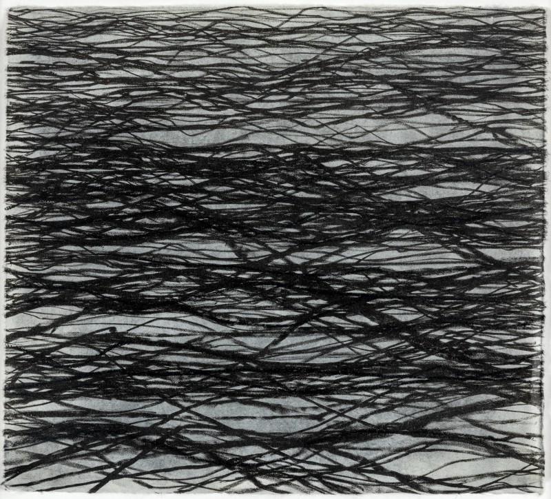 Eve Aschheim, Ohne Titel, 2000, Tusche auf Lithographie auf Aquarellpapier, 28,5 × 31,2 cm