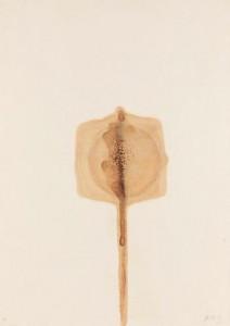 Otto Piene, Ohne Titel, Rauchzeichnung und Aquarell auf Velin, 1962, 70,2 x 49,8 cm