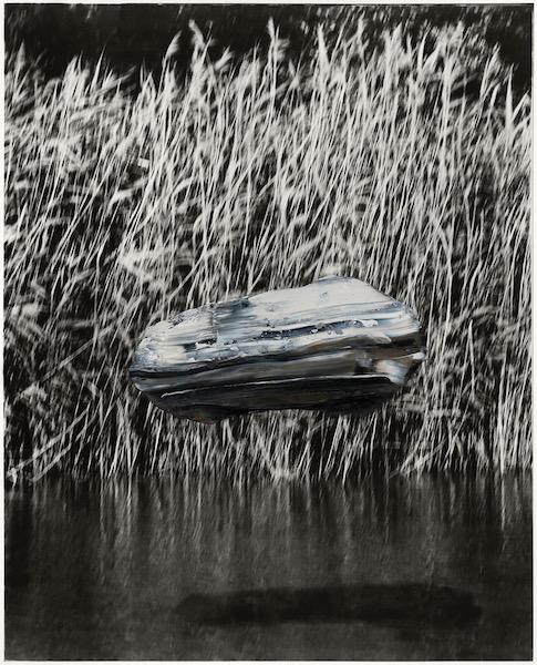 Marc Lüders: Objekt 888-2-2, Öl auf Silbergelatine Print, 95 x 67 cm, 2020.